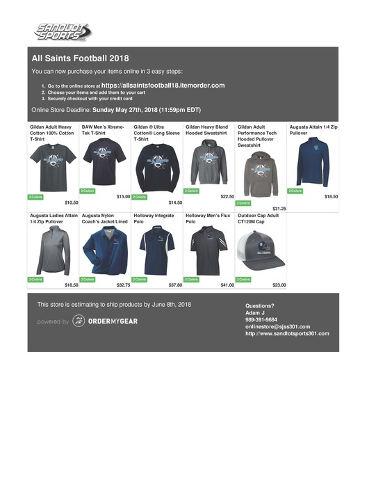 2018 Football Apparel
