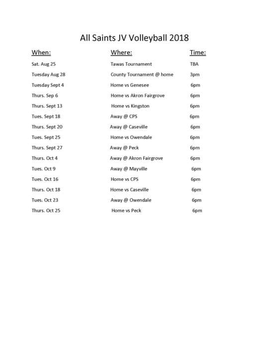 JV & Varsity Volleyball 2018 revised schedules