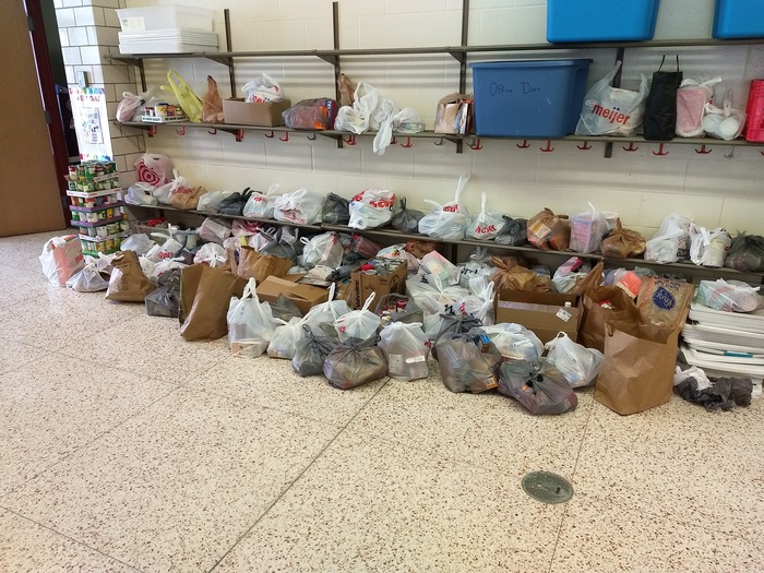 All of the food raised for the food drive!!