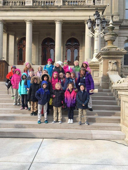 Third grade in front of the State Capitol building.