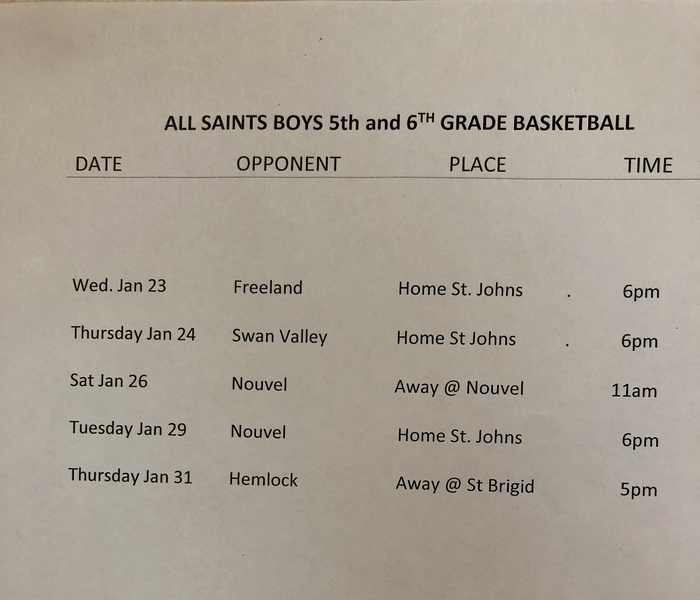 Boys 5/6 Basketball Schedule-